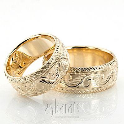 Hh Fc100335 14k Gold Chic Hand Engraved Milgrain Wedding Band Set Wedding Band Sets Womens Engagement Rings Titanium Wedding Rings