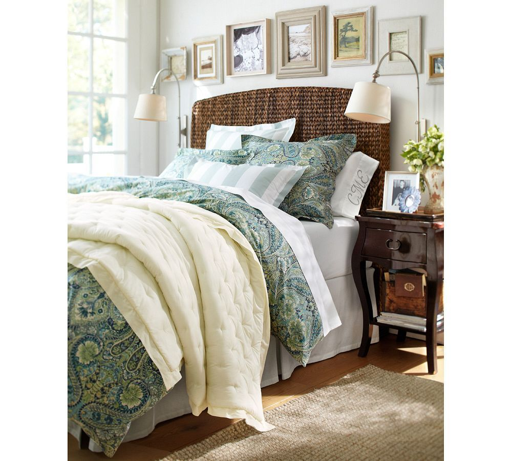 An Exotic Touch To The Bedroom: Good Pottery Barn Seagrass Headboard On Seagrass Bed