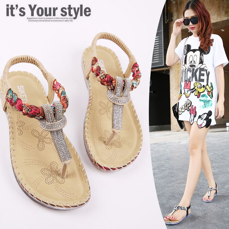 2016 New Summer women flat sandals Ladies Summer Bohemia Rhinestone Beach Flip  Flops Shoes Casual Shoes