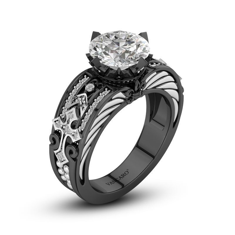 Gothic Style Cross Inspired Round Cubic Zirconia Engagement Ring