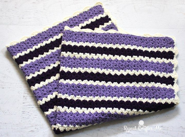 Crochet Cluster V-Stitch Striped Blanket with Shell Border