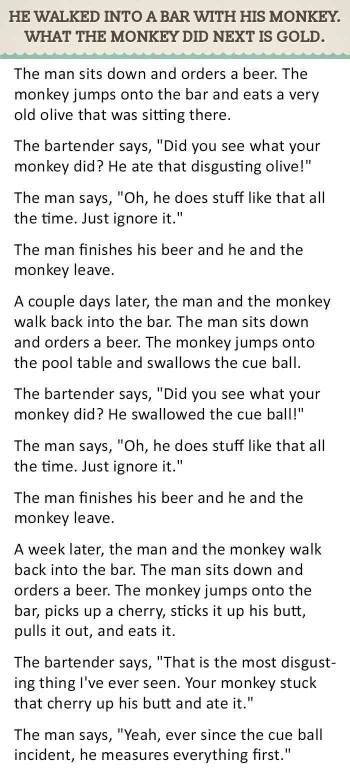 Monkey Bar Joke : monkey, Walked, Monkey, Stories,, Funny, Jokes,, Twisted, Humor