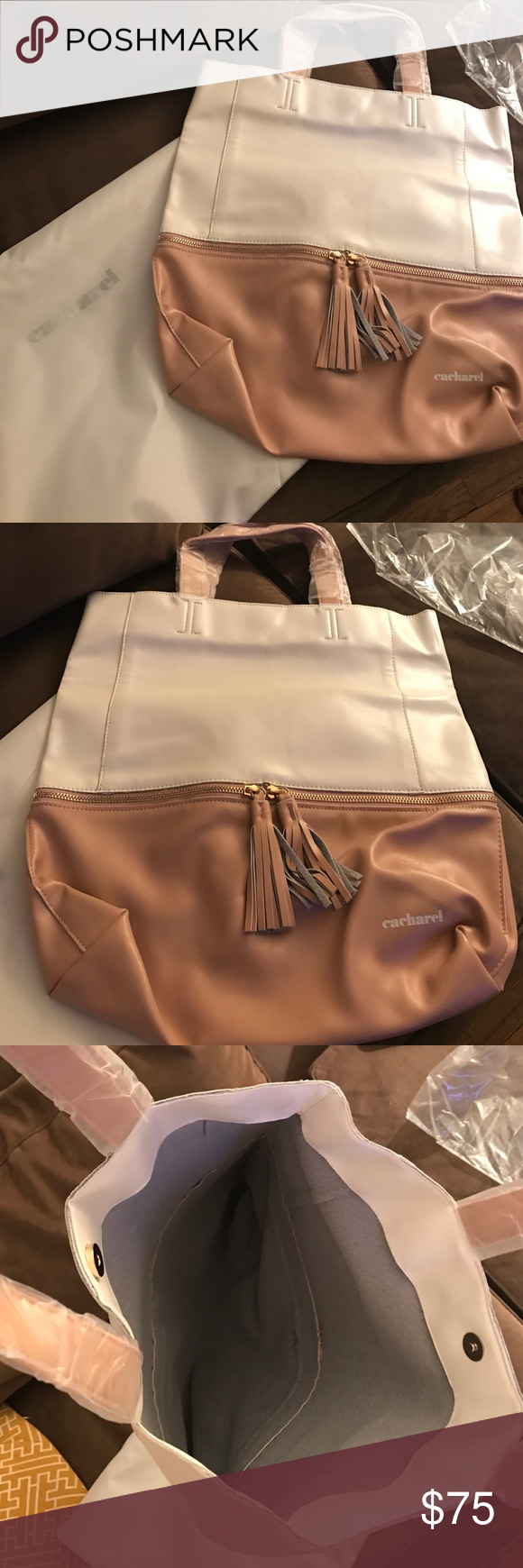 Cacharel Women's Leather Tote Bag White & Rose Beige leather tote from Cacharel (French brand). Never used with tag and wrapping still on. Cacharel Bags Totes