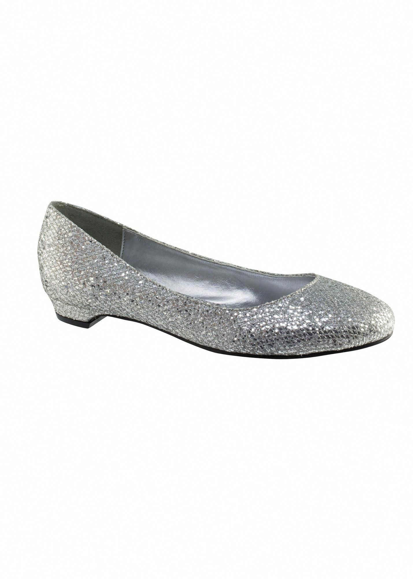 83c830e446d6 Touch Ups Tamara 415 - Silver Glitter Flat Prom Shoes Online   thepromdresses  Promshoes