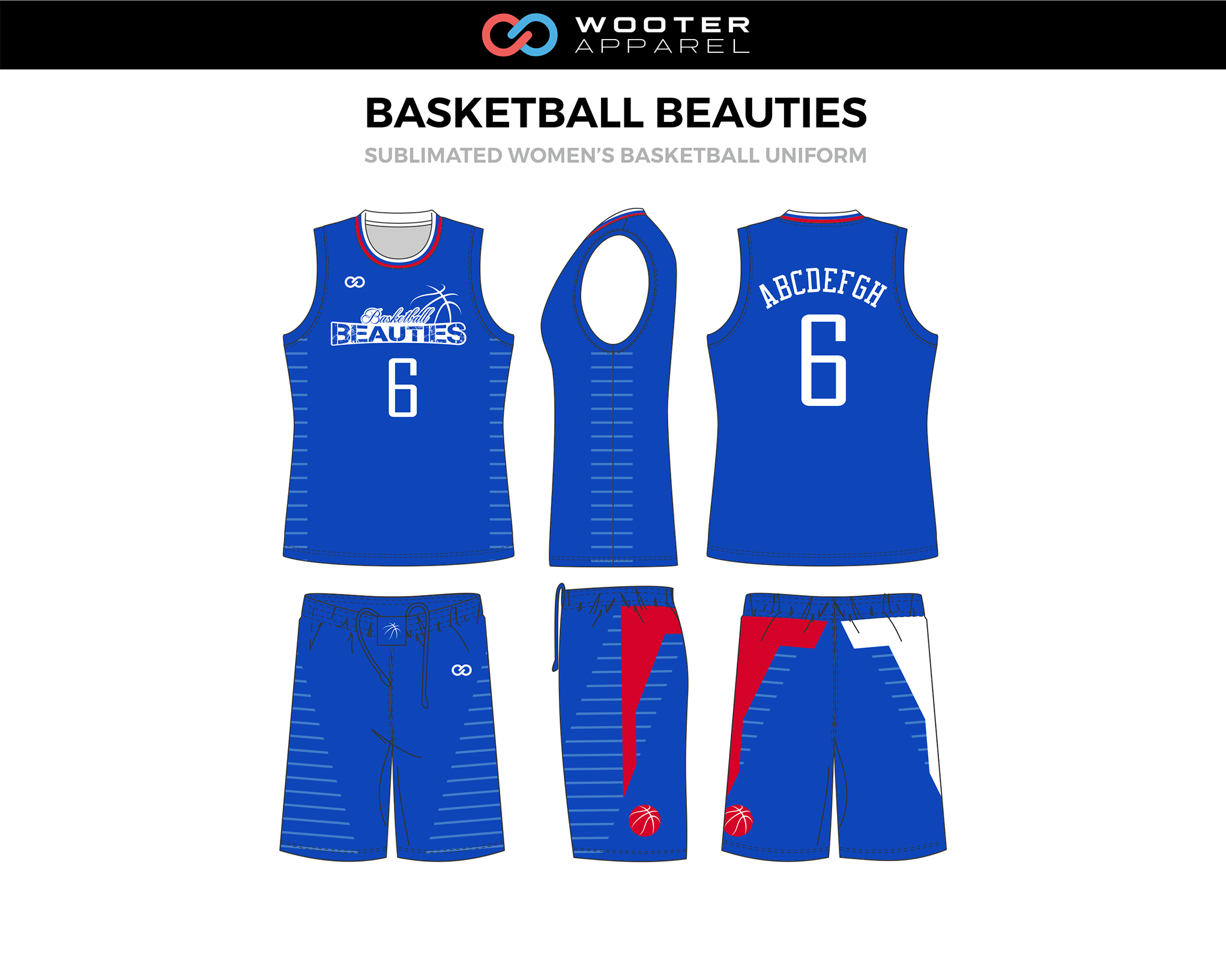 Basketball Beauties Blue Red White Custom Basketball Uniforms Jerseys Shorts Basketball Uniforms Design Basketball Uniforms Custom Basketball Uniforms