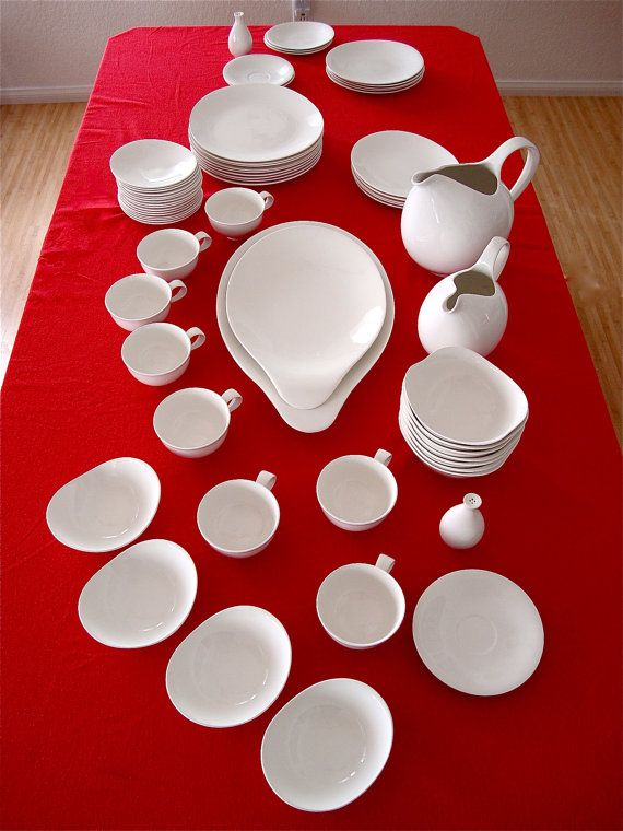 vintage chinaware by the late, great designer Eva Zeisel, called Hi White, by Hall China Co., made in the U S A. in good condition, no chips,