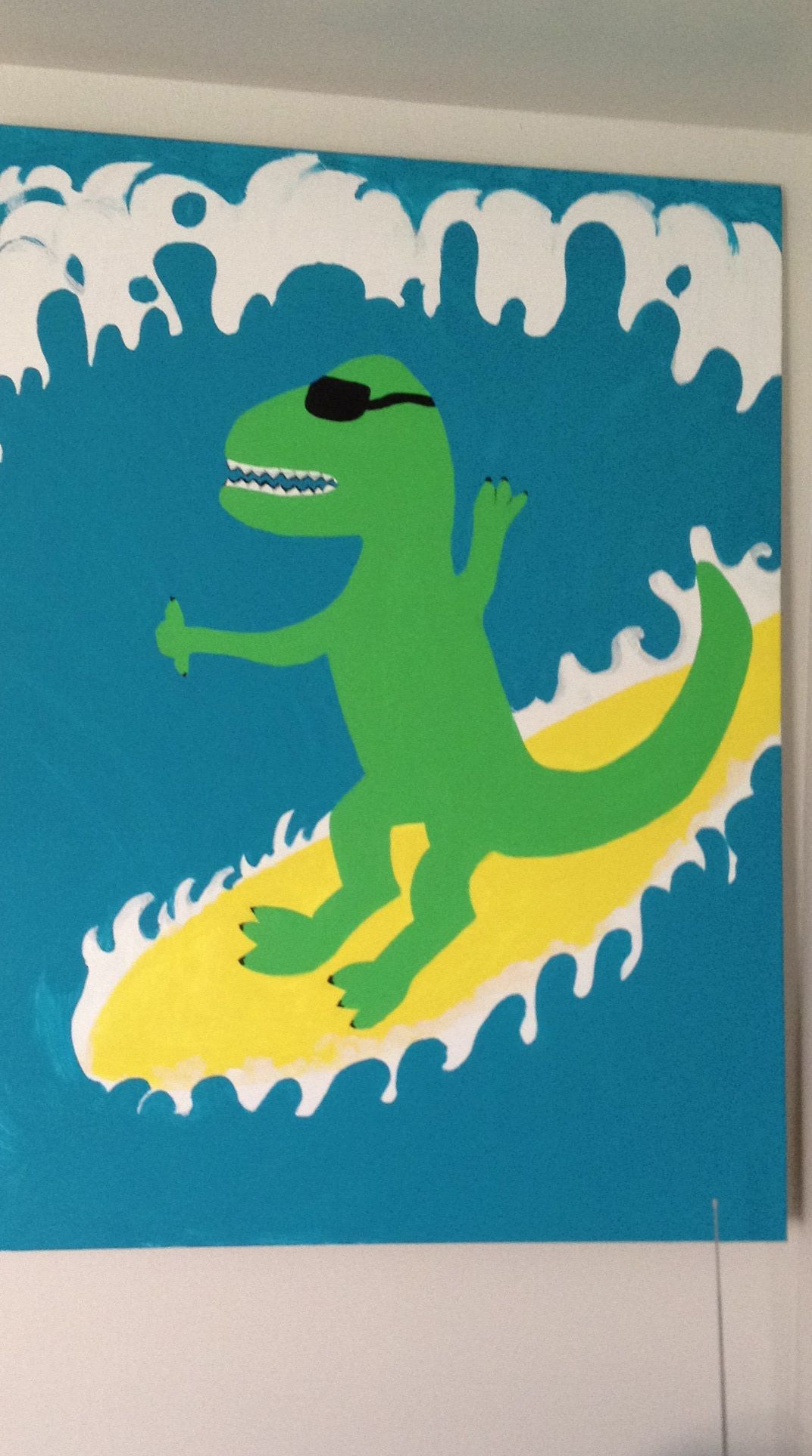 I painted this funny surfing Dino for my son's room. :)