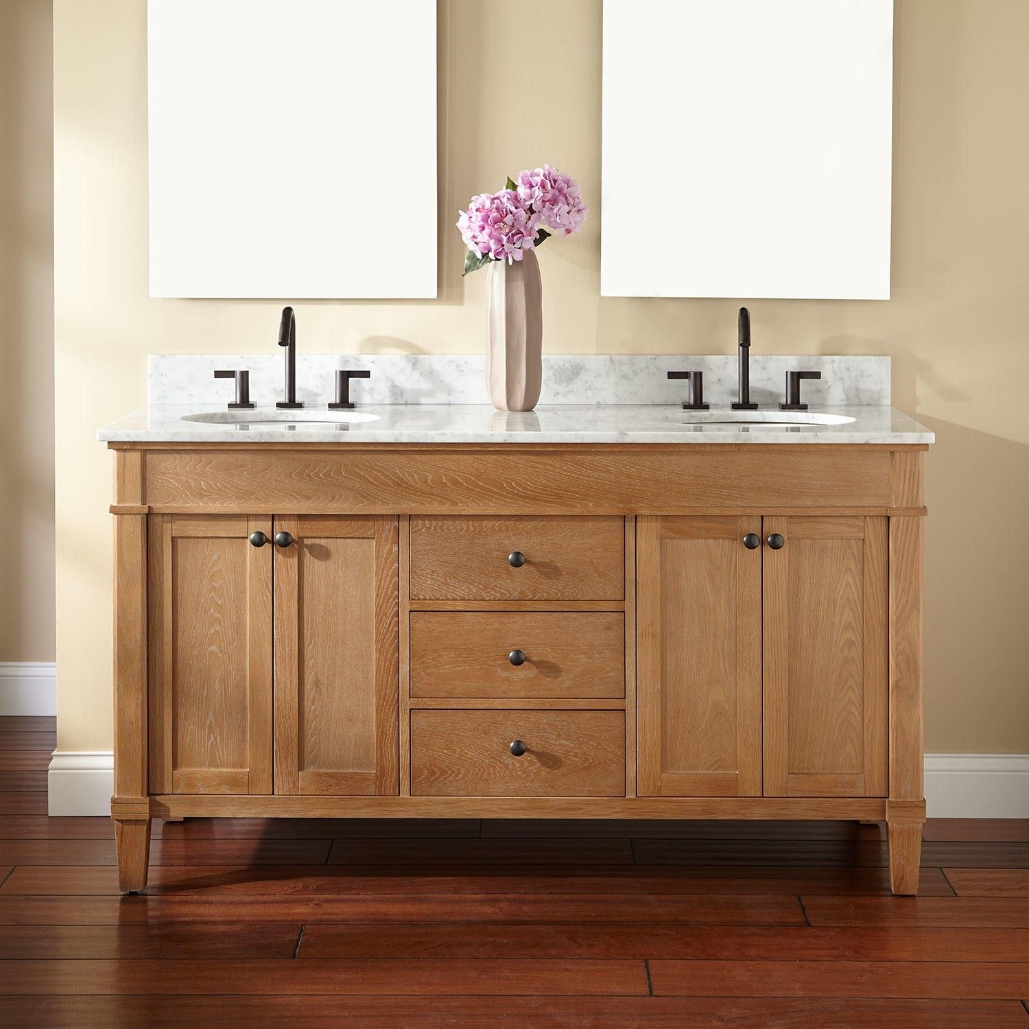 Natural Unfinished Oak Wood Vanity Cabinet Mixed Black Polished Metal Faucet Mesmerizing Double For Bathroom Decoration Ideas Furniture