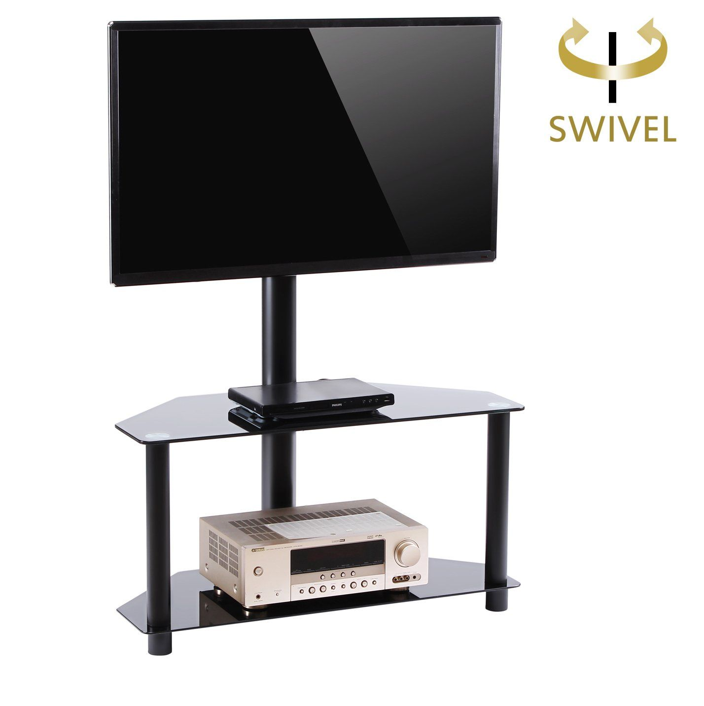Rfiver Black Corner Floor Tv Stand With Swivel Mount Bracket For 32 37 42 47 50 55 Inches Plasma Lcd Tv Stand With Swivel Mount Tv Stand Tempered Glass Shelves 55 tv stand with mount