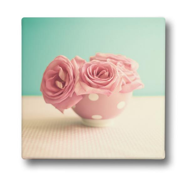 Canvas print RETRO PINK ROSES by Sticky!!!