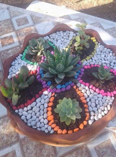 Ideas Super Faciles Para Decorar El Jardin Con Piedras Jardineria En Macetas Jardin Con Piedras Jardines