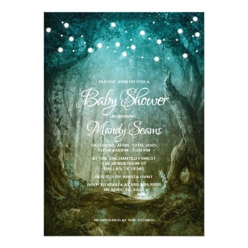 Enchanted Forest Fairy Tale Baby Shower Invitation  Enchanted Forest Fairy Tale Baby Shower Invitation