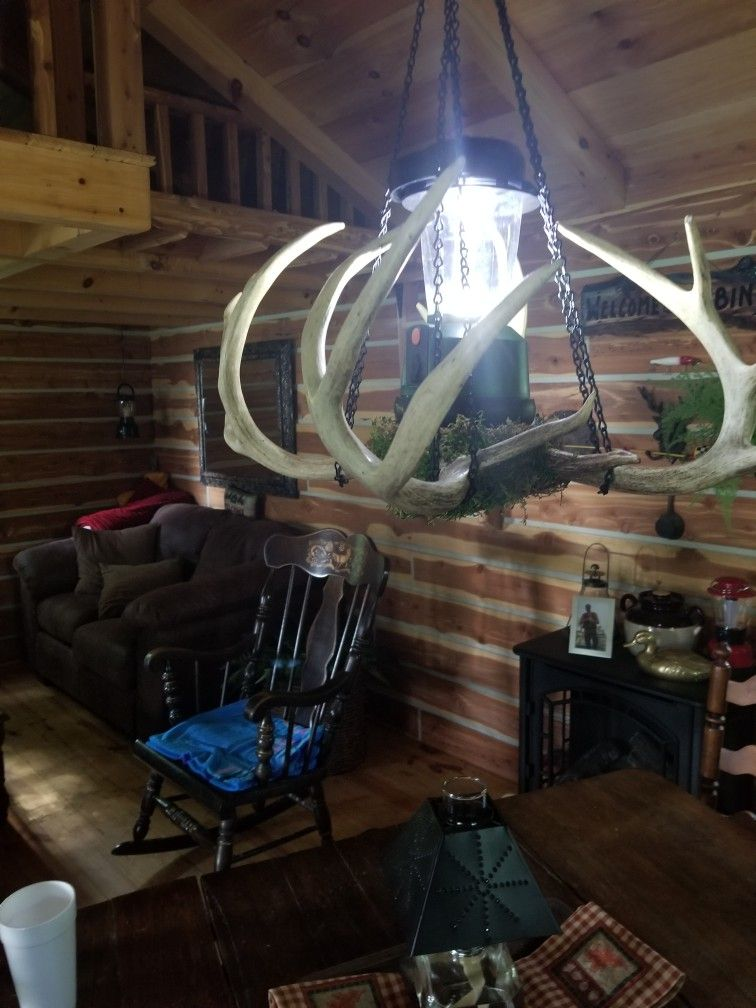 Chandelier made from deer antlers with lantern if no ... on Sconces No Electric Power id=50145