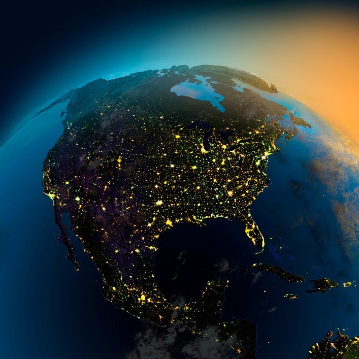 This Is A Night View Of North America From Space Tierra Desde El Espacio Luces De La Ciudad America Del Norte