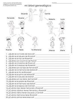 La Familia Spanish Family Tree Questions Worksheet | Imprimibles ...