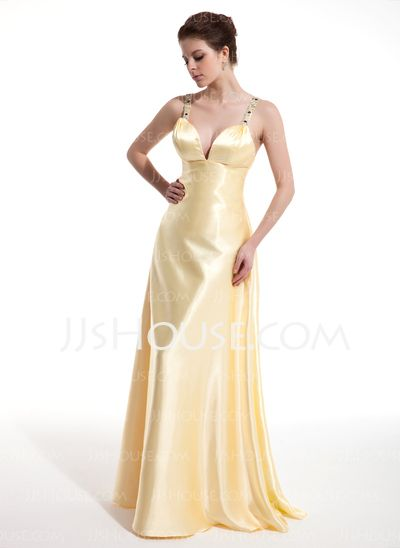 Prom Dresses - $132.99 - A-Line/Princess V-neck Floor-Length Charmeuse Prom Dress With Ruffle Beading (018004804) http://jjshouse.com/A-Line-Princess-V-Neck-Floor-Length-Charmeuse-Prom-Dress-With-Ruffle-Beading-018004804-g4804