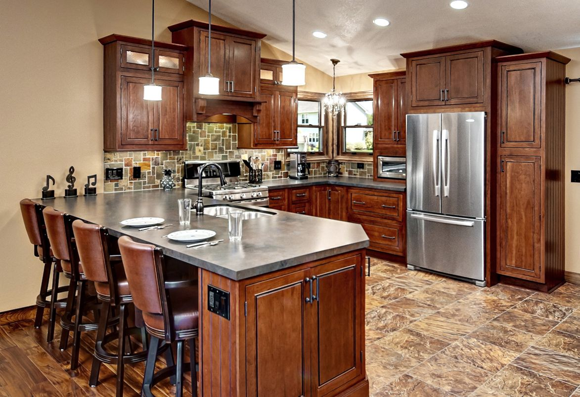 The Kitchen Cabinets Are The Fairmont Inset Style From Cliqstudios Com In The Cherry Russet Finish Cheap Kitchen Remodel Kitchen Remodel Kitchen Remodel Cost