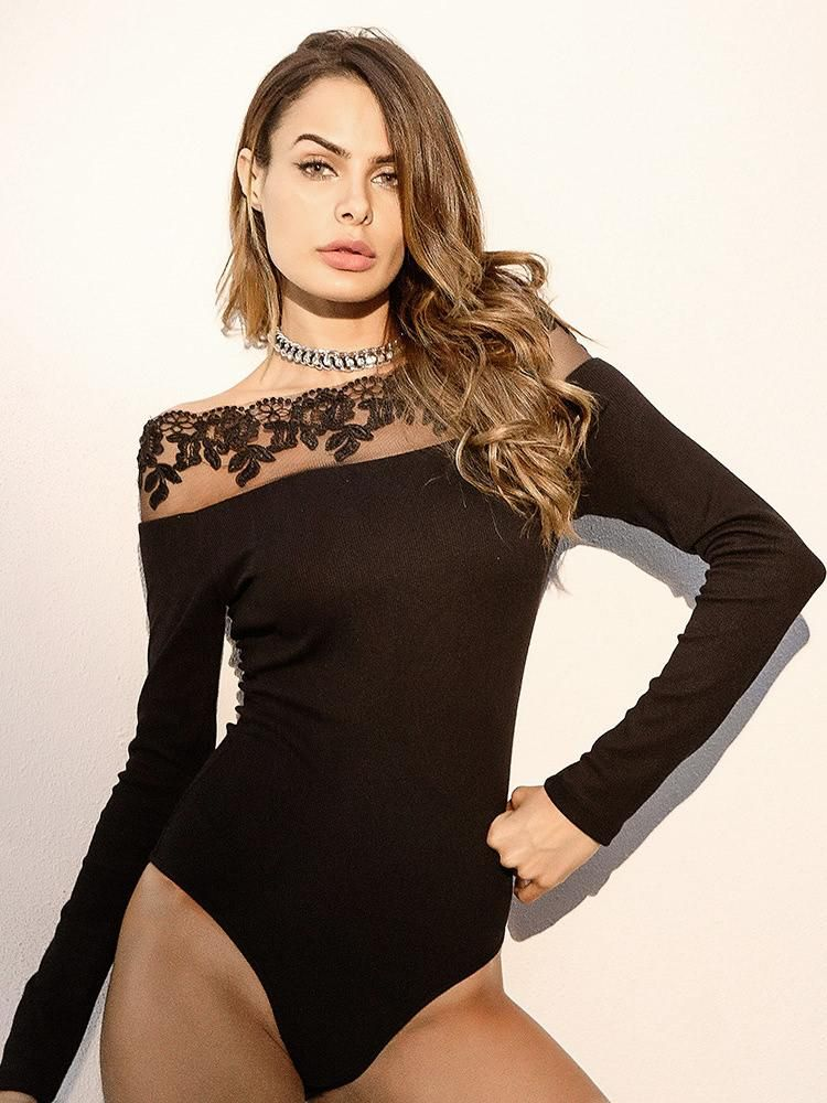 a5a917b15ed6e embroidered floral contrast sheer mesh bodysuit.  borntowear  fashion  tops   bodysuits