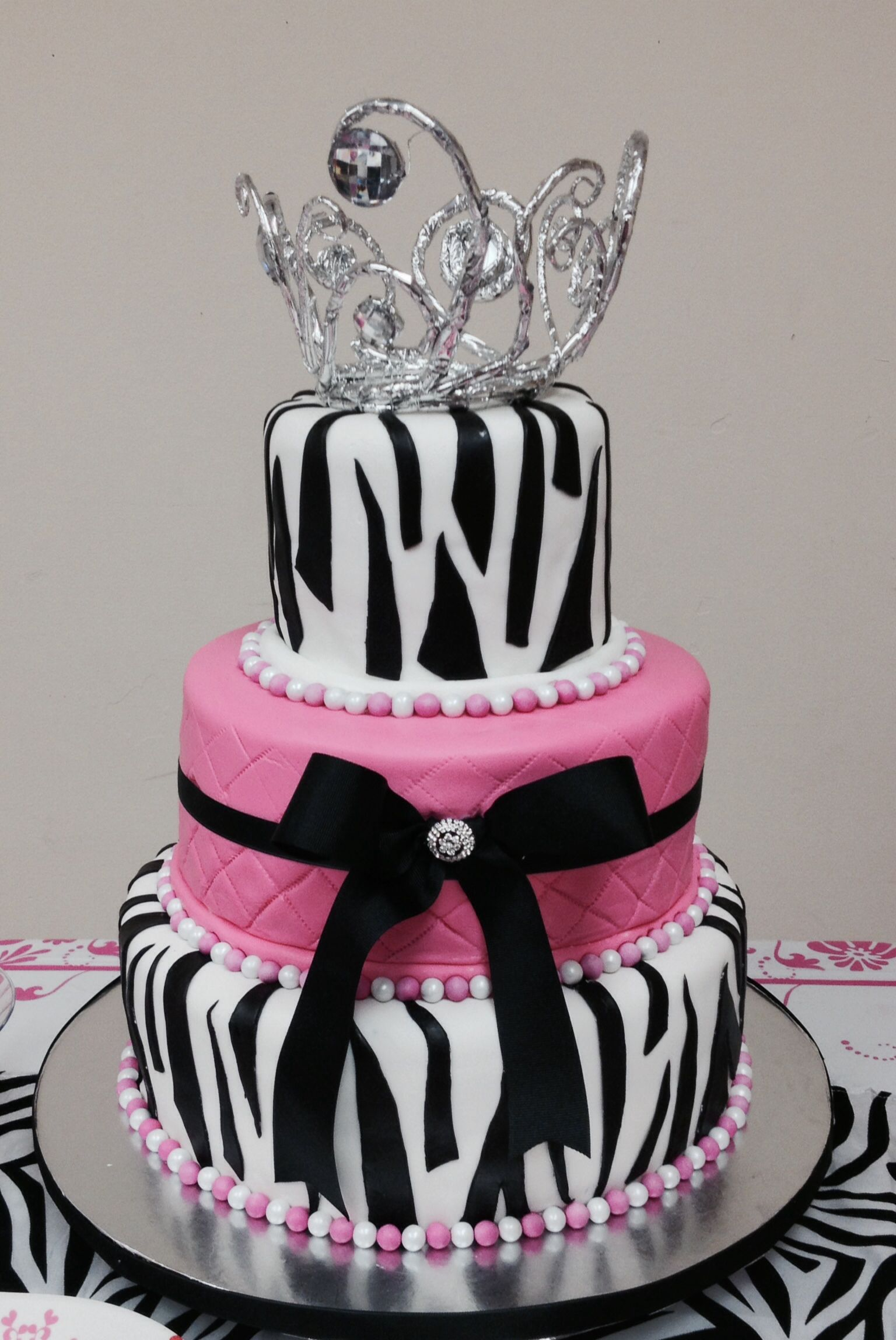 princess, zebra, pink and black birthday cake | faintastic cakes
