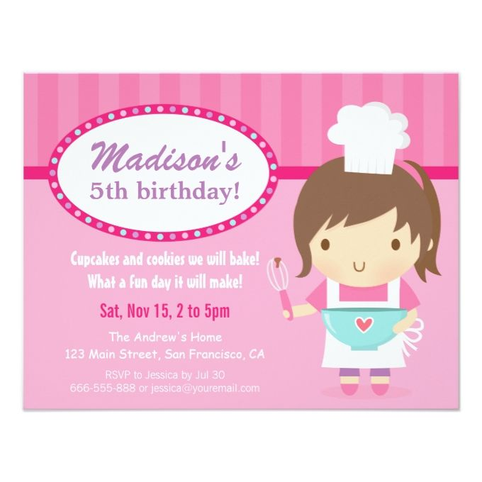 Cute girl chef cooking baking birthday party 425x55 paper cute girl chef cooking baking birthday party 425x55 paper invitation card filmwisefo Gallery