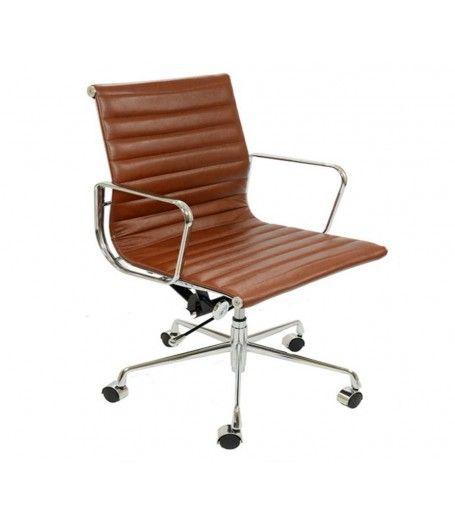 Eames Style Ea117 Low Back Ribbed Leather Office Chair Vintage Brown Tan