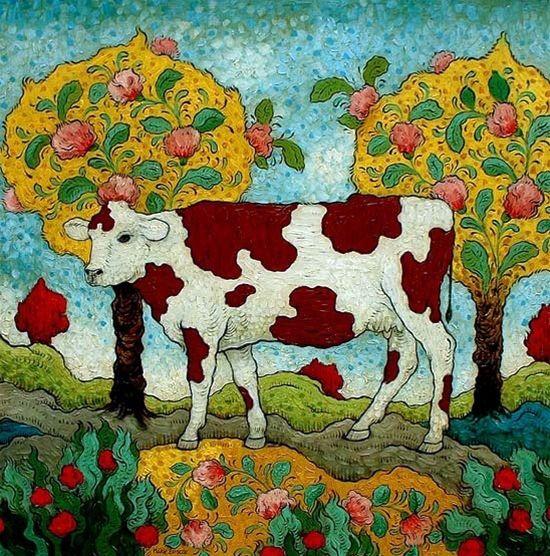Cow ( Pink Arabesque) by Mark Briscoe