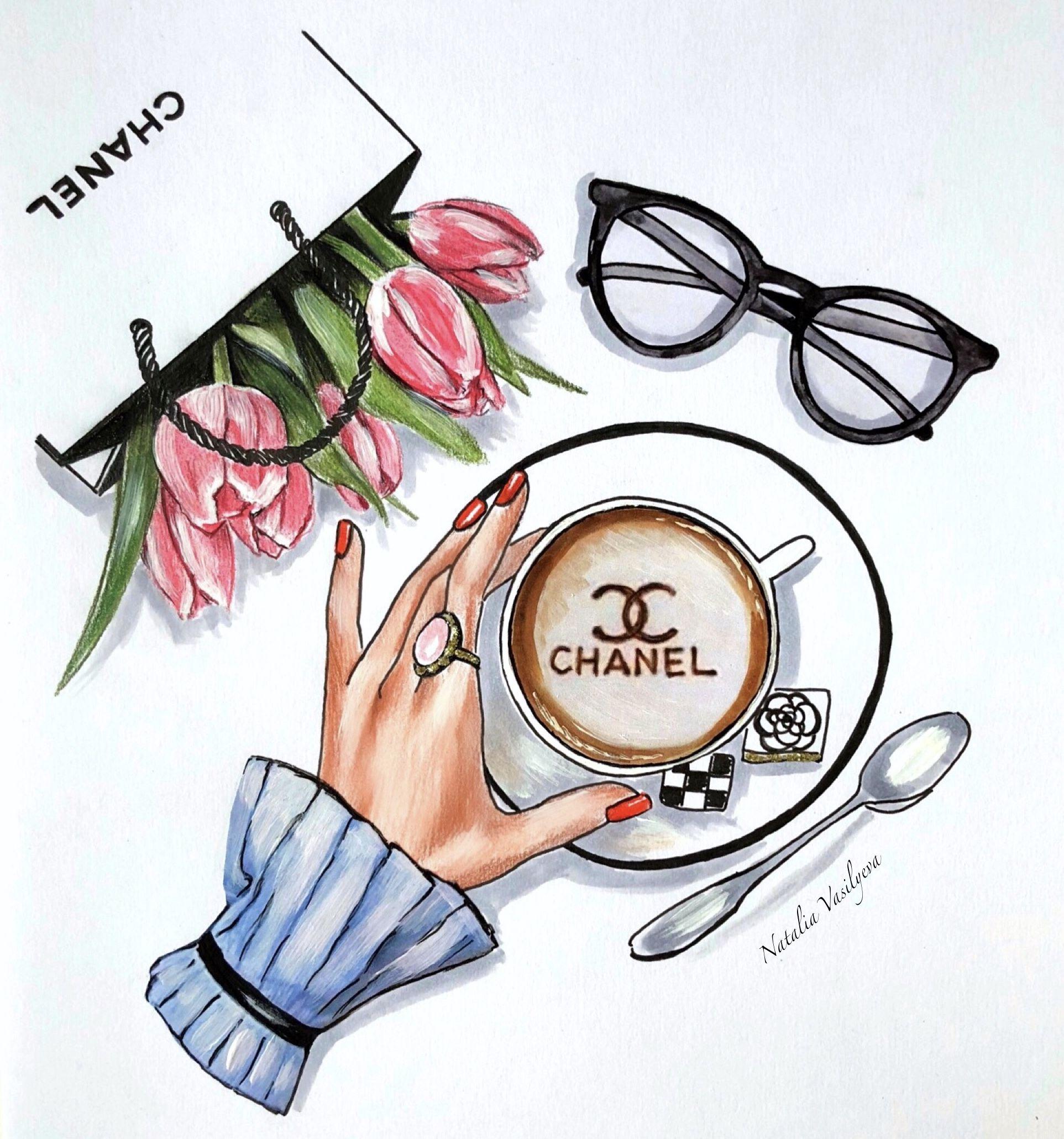 Coffee time Модные иллюстрации, Картинки