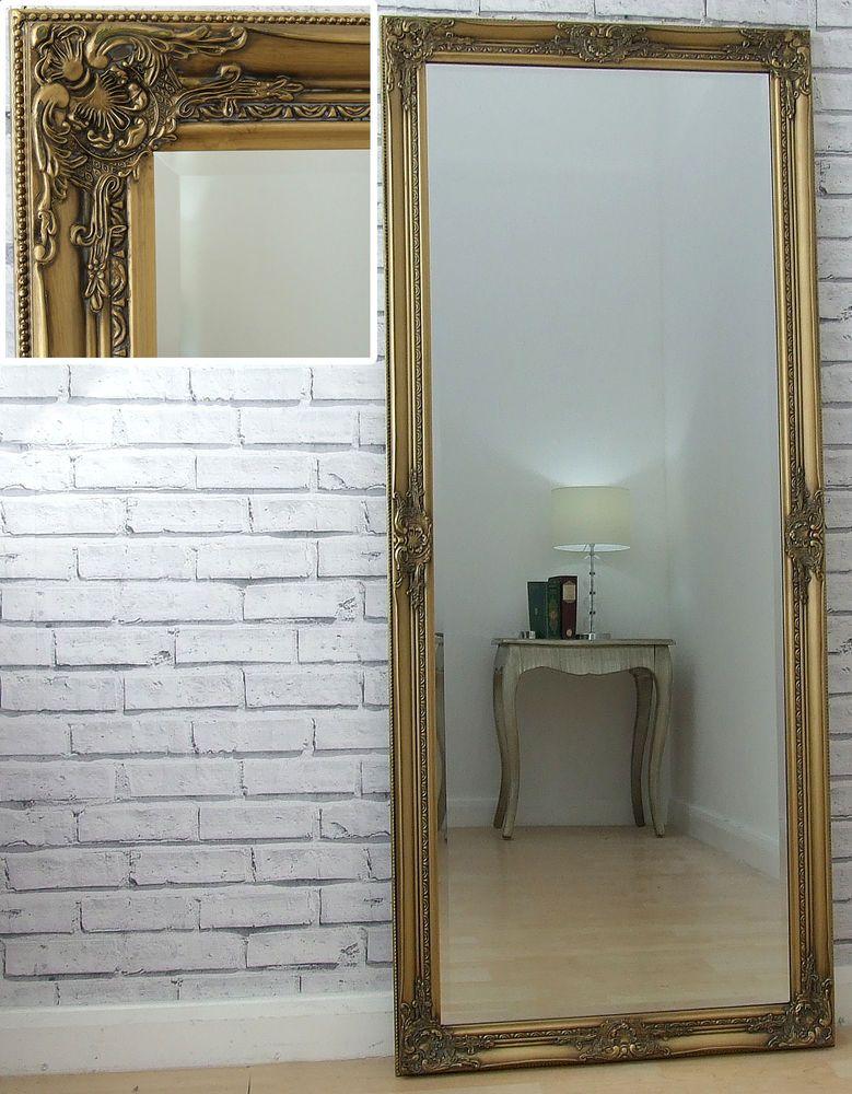 Eton Large Full Length Antique Gold Shabby Chic Leaner Wall Floor ...