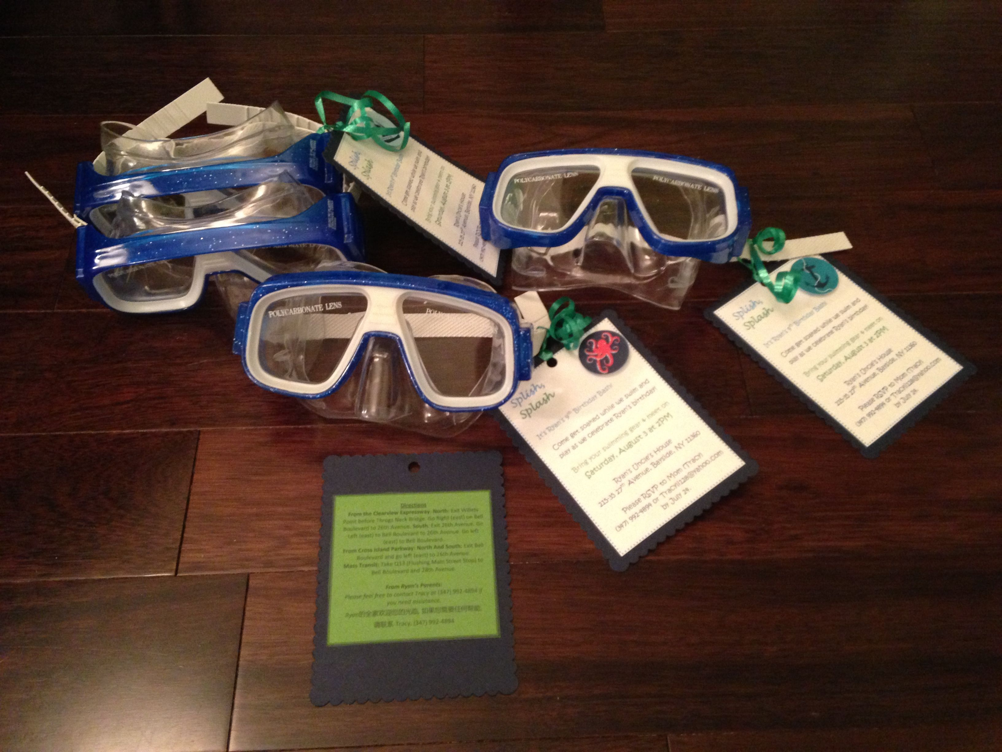 Pool party invitation snorkeling goggles hand delivered