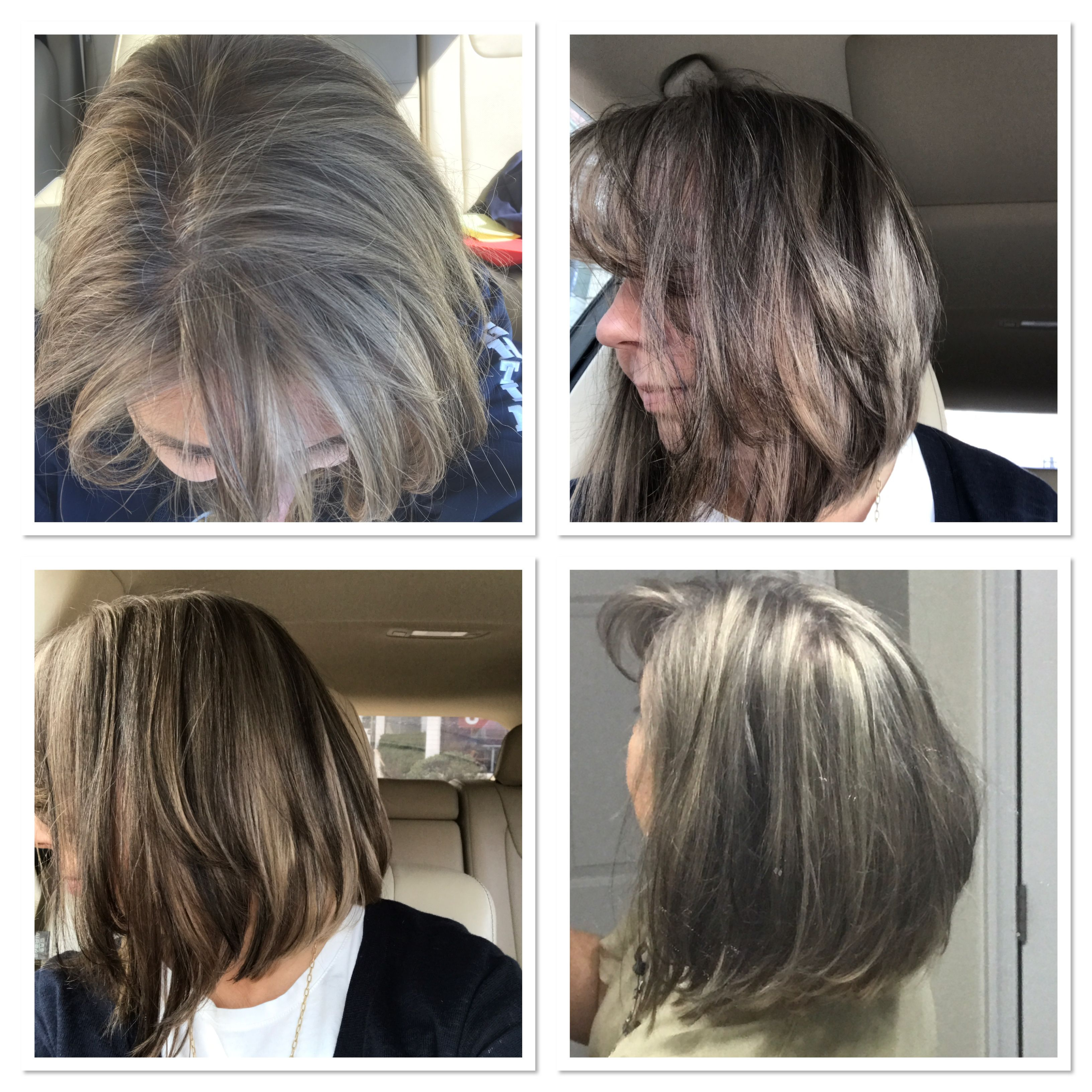 Transitioning to gray with ash brown undertones and highlights