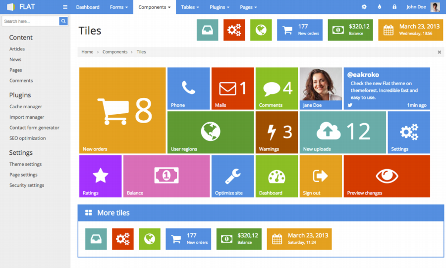 FLAT - Responsive Admin Template Download | RWG | Intranet ...