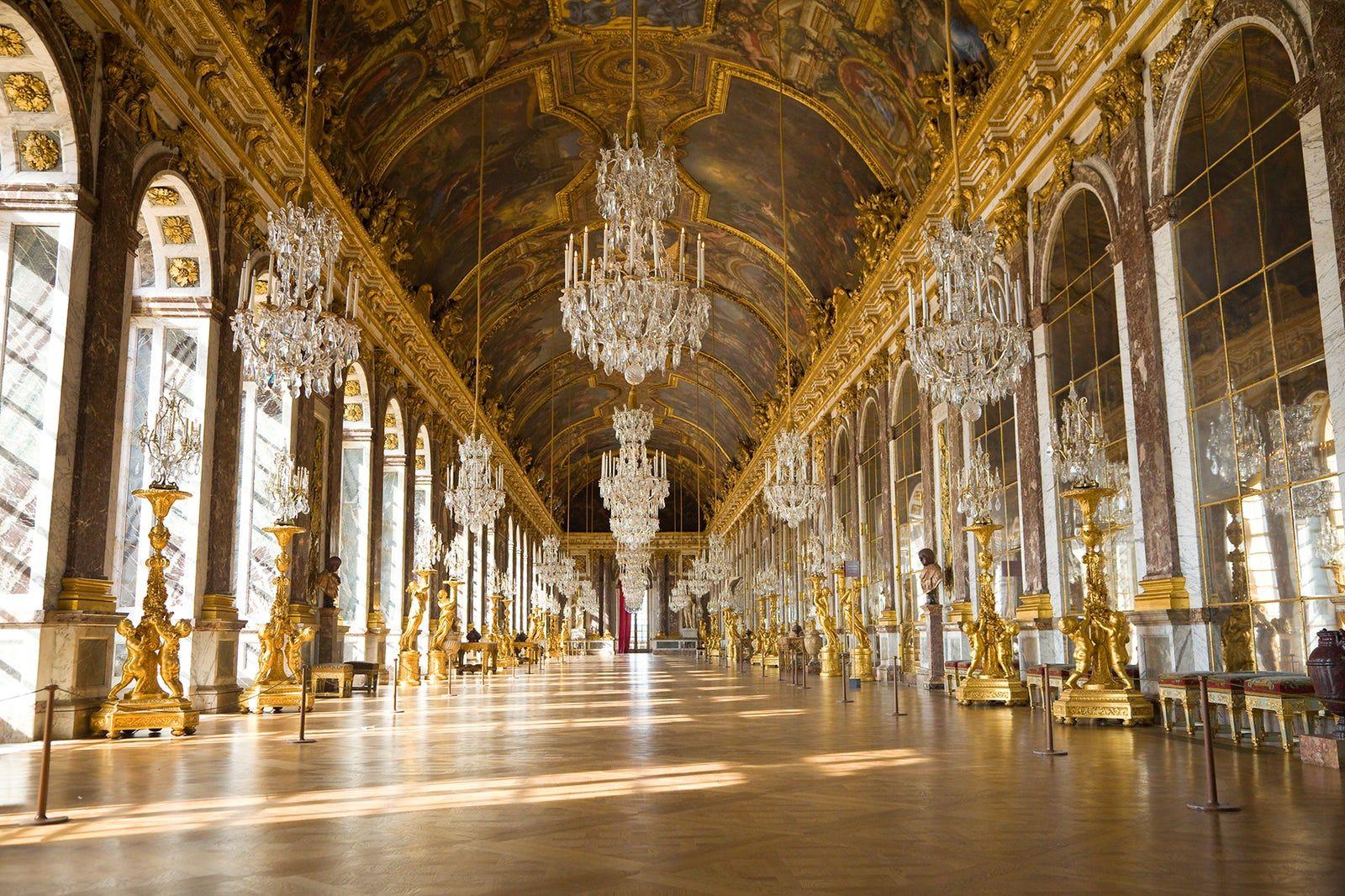 Sala de los espejos, del Palacio de Versalles en Paris - Francia ...