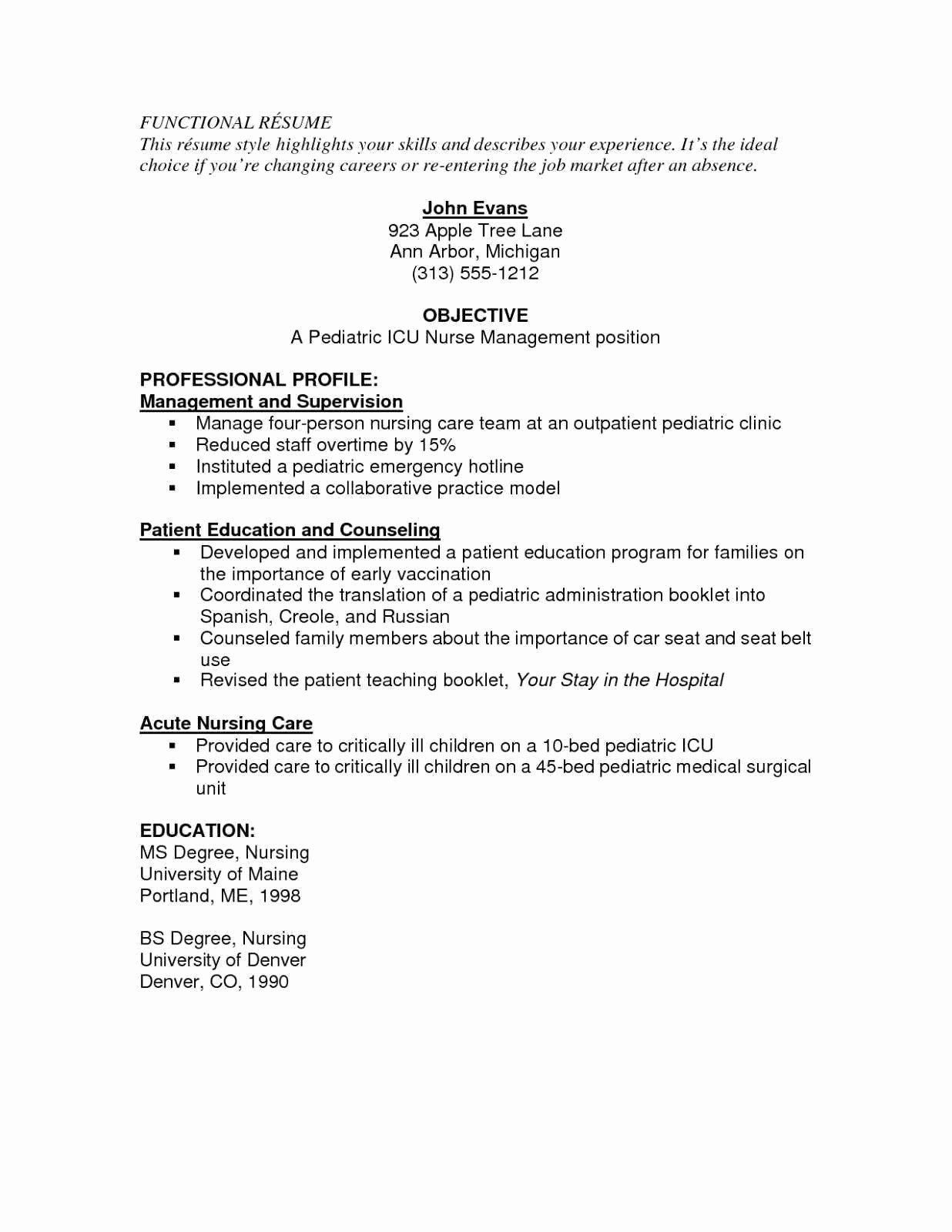 Nursing Skills for Resume Beautiful Rn Resume Skills New