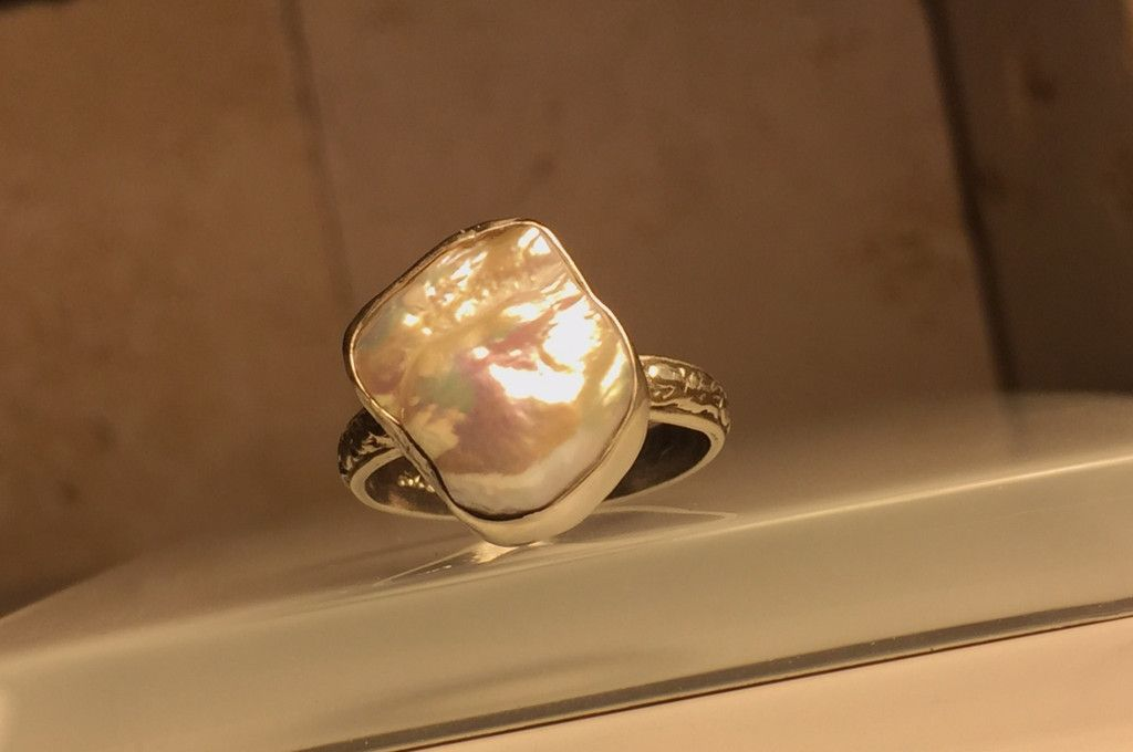 Handcrafted Upcycled Pearl and Sterling Silver Statement Ring