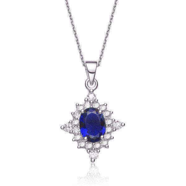 Collette Z Sterling Silver Cubic Zirconia Necklace ($15) ❤ liked on Polyvore featuring jewelry, necklaces, blue pendant necklace, cz pendant, blue necklace, sterling silver cz necklace and white necklace