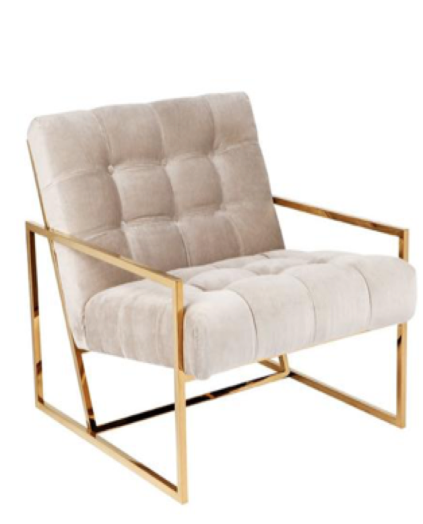 Hollywood Gold Stainless Steel Armchair Taupe Allissias Attic