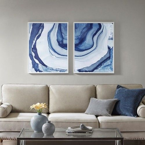 Agate Printed Design In Blues With White Frame Wall Art In 2020 Canvas Wall Art Set White Frames Wall Framed Canvas Wall Art