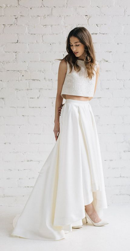 modern two piece crop top wedding dress | Wedding dresses ...
