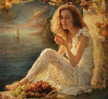 A Blissful Moment - Beautiful, Art, Platter, Girl, Cool, White, Painting, Dress, People, Autumn