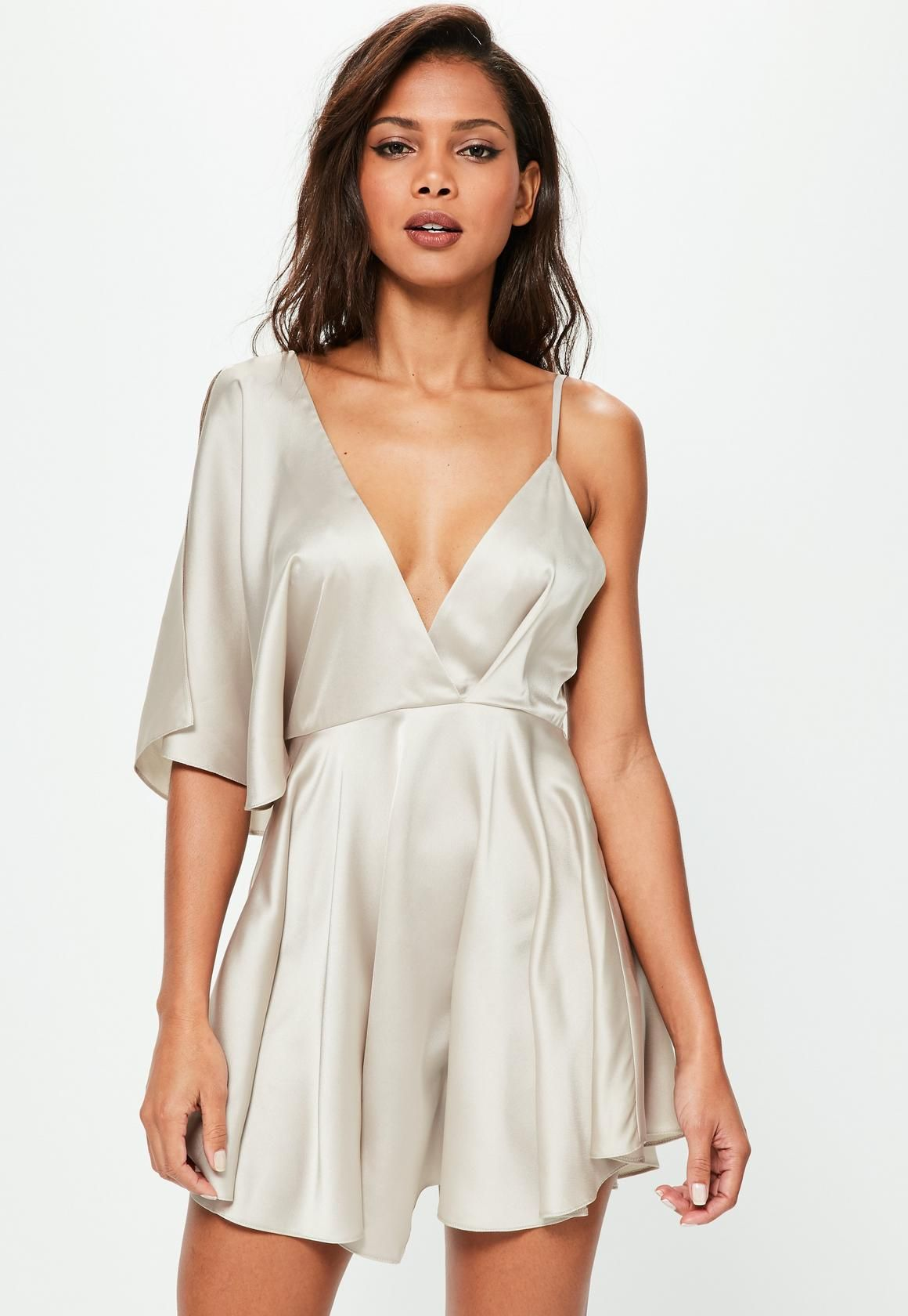 fe6f00060a09 Nude Satin Asymmetric Swing Dress - Missguided