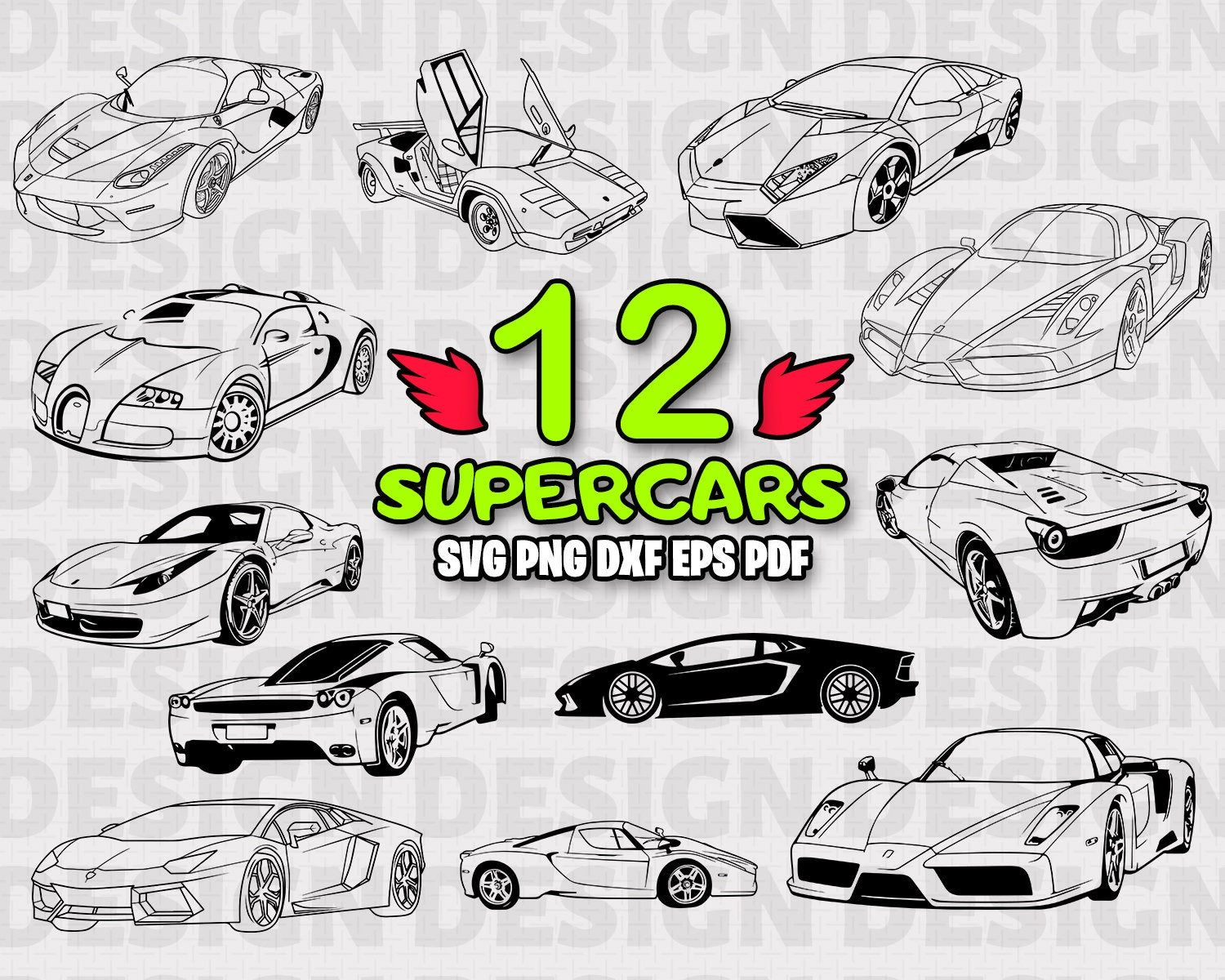 Supercars Svg Car Decor Supercars Svg Files Cricut Svg Silhouette Car Svg Vinyl Sports Car Svg Super Car Svg C Super Cars Classic Cars Line Art Design