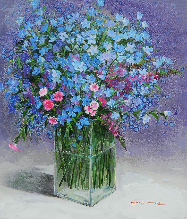 Корейский художник Yi Seong-bu. Натюрморт с цветами ...