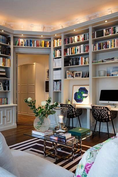 the idea of small recessed lights above the bookshelves   I like the idea of small recessed lights above the bookshelves    Storages at The Corner of The Room  Living Roo...