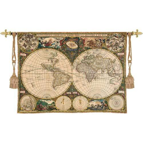 Pure Country Weavers Old World Map Tapestry Wall Hanging
