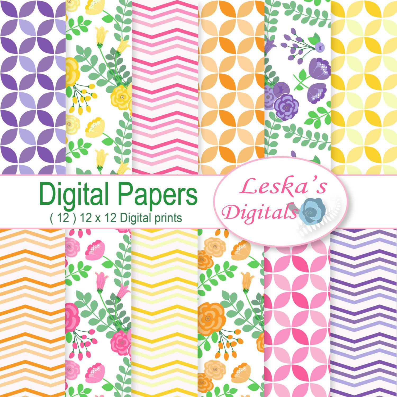 Flower Digital Paper Floral Background Blog Background Digital
