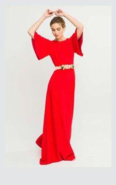 c35a27794 Comprar online vestido largo rojo de fiesta con espalda abierta para  invitada de boda de tarde
