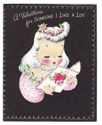 Vintage Unused Girl Looking at Valentine Card Hallmark Greeting
