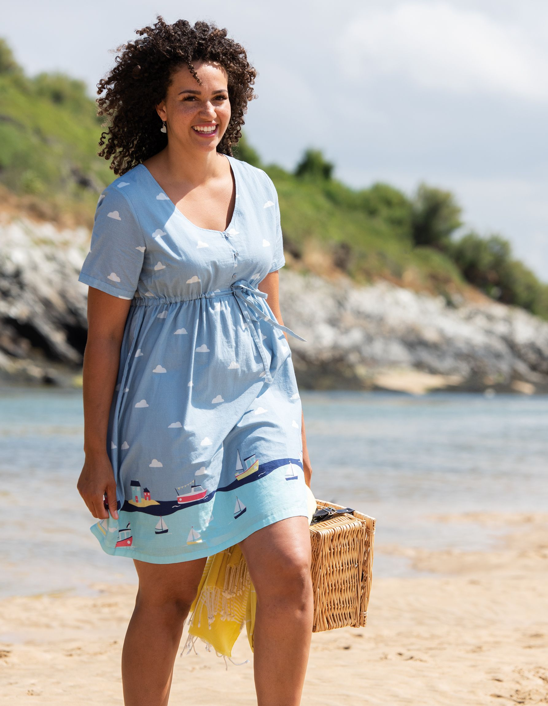 6de5a150c0d78 In this gorgeous and lightweight Border Print Smock Dress from our Frugi  Bloom collection! With button fastenings on the front that can be undone  for ...