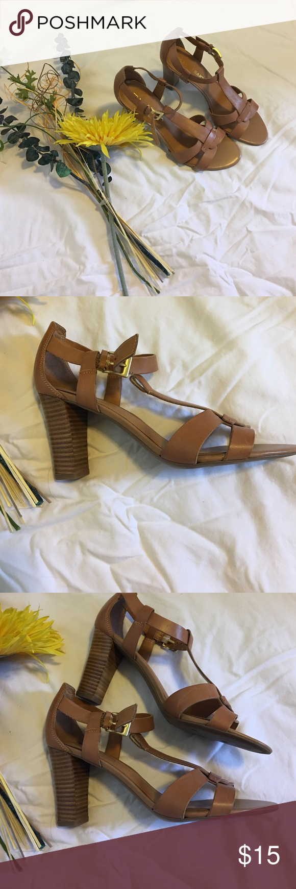 Brand new never worn Franco Sarto leather slings Purchased these Franco Sarto shoes and never worn.  Doing some closet purging and decided it is time to let go.  Size 8 tan leather slings Franco Sarto Shoes Sandals