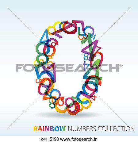 numéro zéro, fait, depuis, coloré, nombres Voir Clipart Grand Format